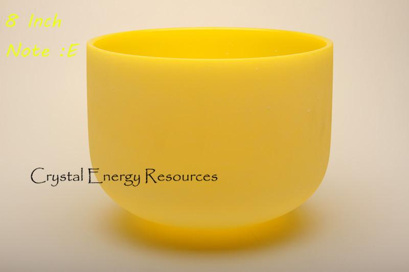 Givré E solaire Plexus Chakra jaune couleur cristal de Quartz Singing Bowl 8 polegada(China (Mainland))