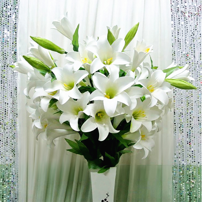 New arrival decorative flowers silk lily wedding bouquet wedding decoration home decoration artificial flowers(China (Mainland))