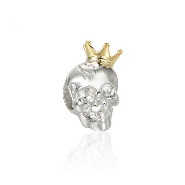Стерлингового серебра 925 пробы украшения золотая корона череп бусины DIY хэллоуин стерлингового серебра - серебристо-ювелирные подходит европейским очаровывает браслеты