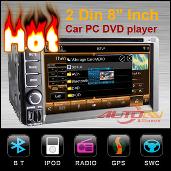 2 Din 6.2 Inch Car PC DVD player Built In GPS Navigation Radio TV Bluetooth WiFi 3G as options free 3G wifi