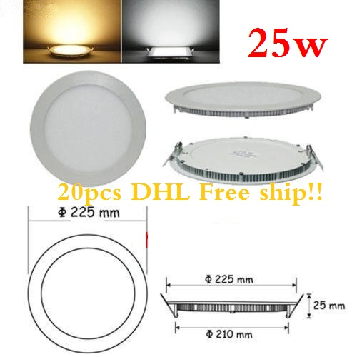 20pcs/lot 25W led panel lights warm white/natural white/cold white round recessed smd led ceiling spot panels lighting bulb(China (Mainland))