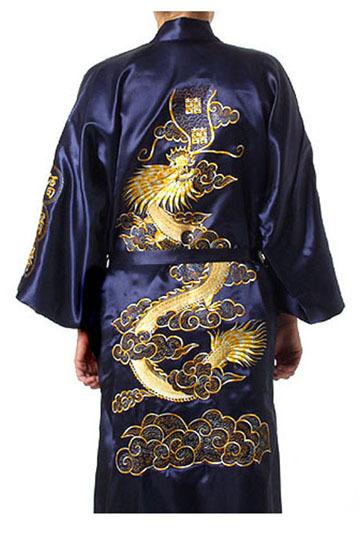 Темно-синий китайских людей традиционный сатин роба вышивка кимоно ванна платье дракон ...
