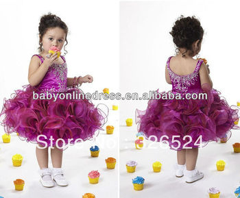 Wholesale - Kids Cute Ball Gowns Toddlers Beaded Ruffles Girls Pageant Dress Party Dresses DE014