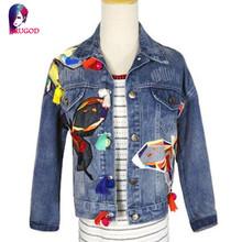 2016 New arrival women's butterfly Embroidery denim jacket Women Jeans Coats Lady's casual loose coat Female fashion outerwear