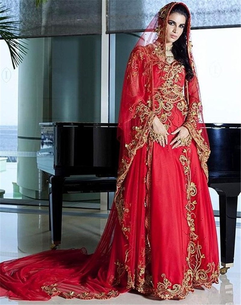 2016 Fashion Golden Red Chiffon Wedding Dress With Hajab Long Sleeve Bridal Wedding Dress Saudi Arabia Bridal Gown Vestidos(China (Mainland))