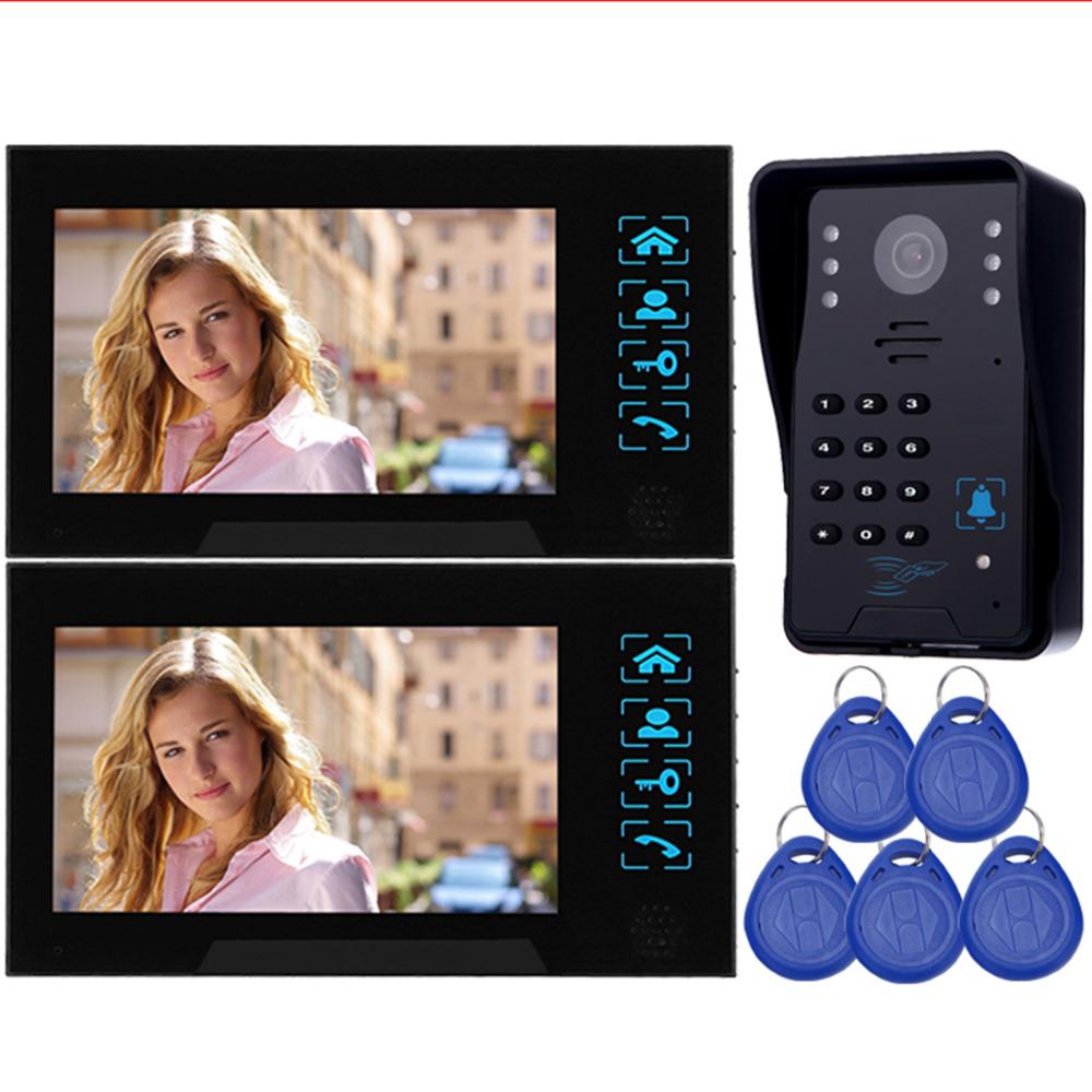 "7"" Video Intercom Camera Door Phone Doorbell RFID Access Control System & 5 ID Card Camea F4362A(China (Mainland))"