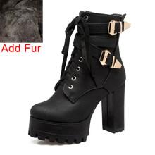 BONJOMARISA Mùa Xuân 2019 Mùa Đông Nữ Mắt Cá Chân của Giày Plus Size 33-50 Đen 11cm Giày Cao Gót Đế Boot phối ren Giày Người Phụ N(China)