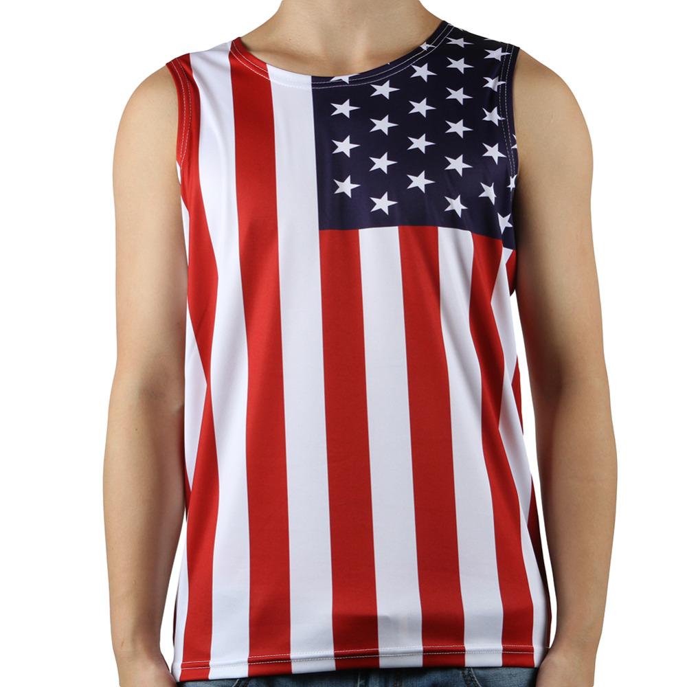 summer fashion casual mens vest tops usa american flag