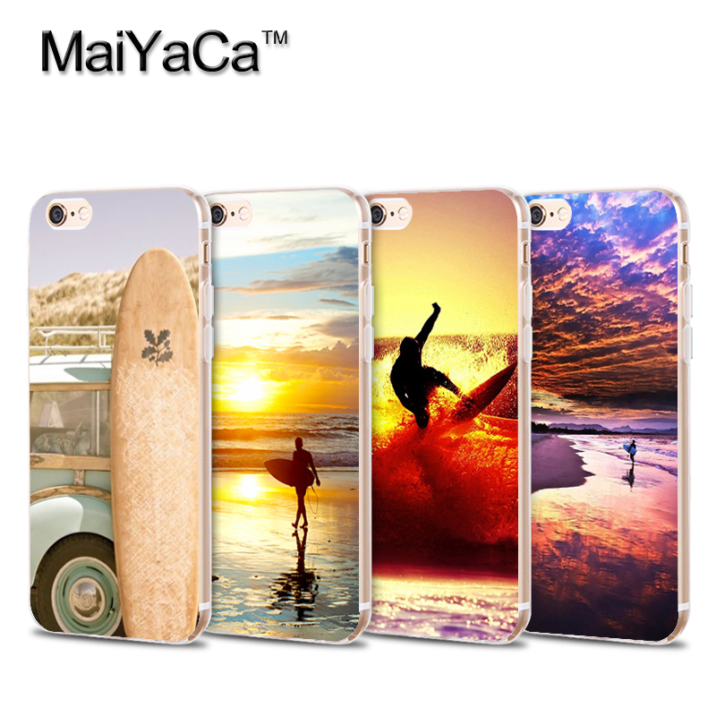On Sale Surfboard and Surfing sunset Cool Soft Transparent TPU Phone Case Accessories Cover For iPhone 5s 6s 7 plus case(China (Mainland))