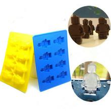 Ice Tray Mould Cake Chocolate Mold Cake Bakeware Cake Tools  Robot Lego DIY Silicone Ice Mould(China (Mainland))