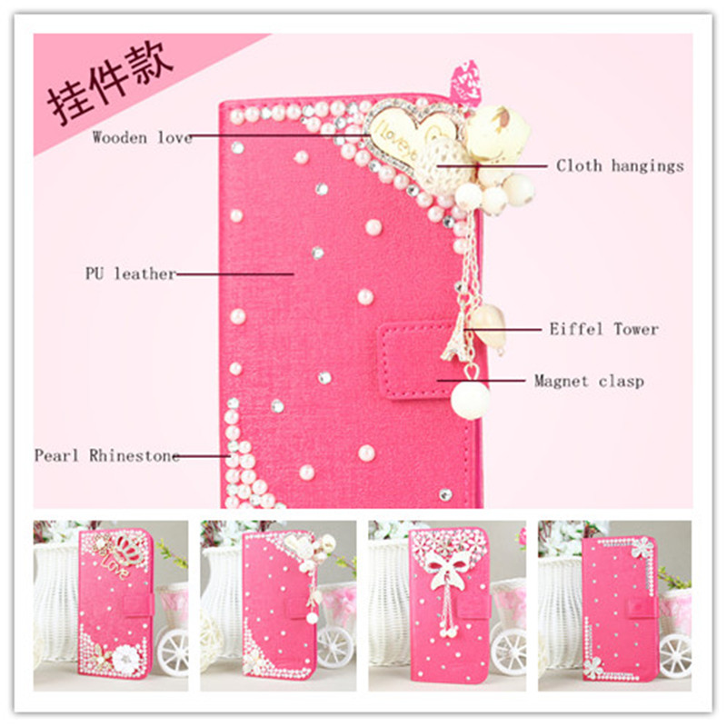 Luxury 3D flower Bling Diamond Wallet Holster back cover skin PU Leather case Sony Xperia T2 Ultra XM50h - lichun chen's store