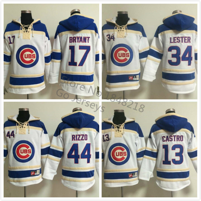 Chicago Cubs Hoodie 13 Starlin Castro 17 Kris Bryant  44 Anthony Rizzo 34 Jon Lester Baseball Pullover Hoodie Sweatshirt 82