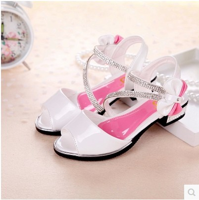 Retail 2015 Summer New Style Teenage Girls Paillette Bow High-Heeled Patent Leather Sandals Children Fashion Princess Shoes X29(China (Mainland))