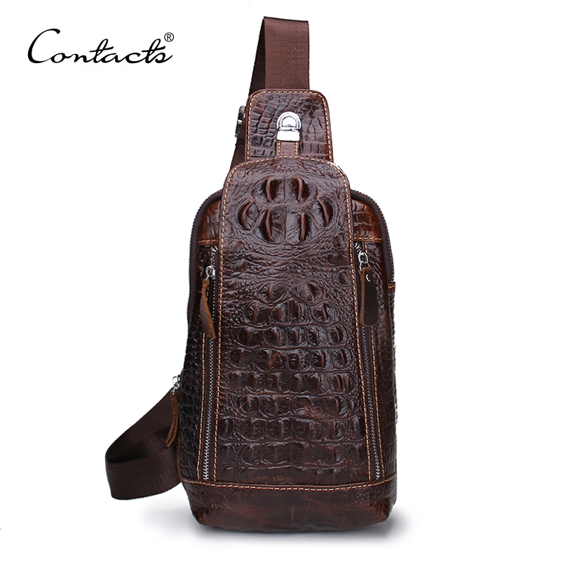 New Fashion Genuine Leather Men Bag Brand Alligator Leather Vintage Crossbody Bags Famous Brand Small Mens Messenger Bag<br><br>Aliexpress