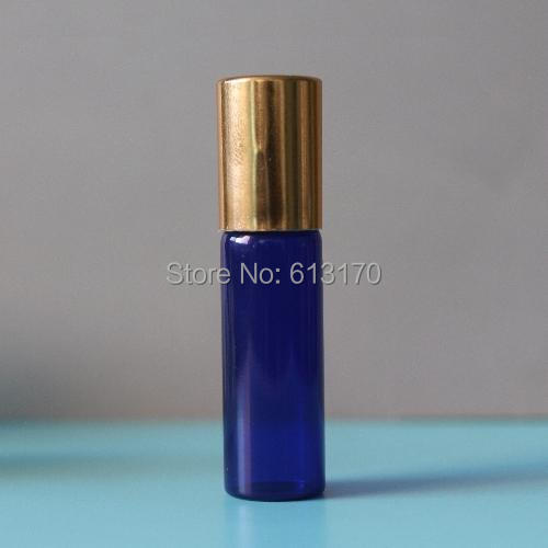 5ml Glass Roll On bottles Blue 5cc Empty Essential Oil Bottle Gold Cover Mini Small sample vials Metal Roller Free Shipping(China (Mainland))