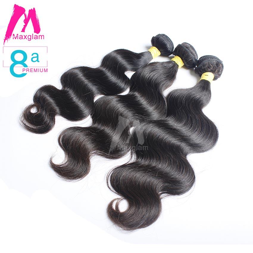 8A Premium Maxglam Hair Brazilian Virgin Hair Body Wave 3pcs/Lot Brazilian Hair Weave Bundles Human Hair Extension Free Shipping(China (Mainland))