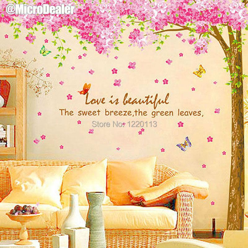 XL Cherry Blossom Tree Wall Sticker Sakura Decal Decorative Living Room TV Sofa Background Removable Sticker Home Decor 2PCS/Set(China (Mainland))