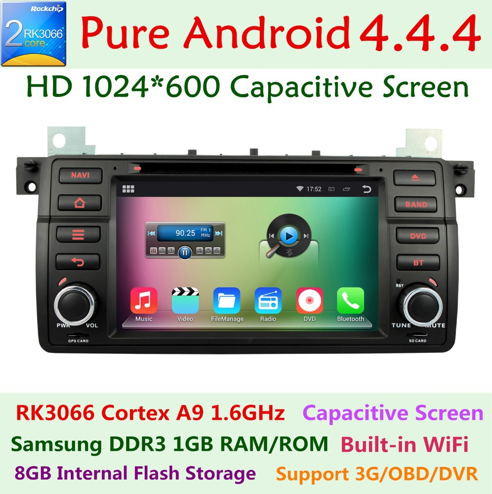 HD 1024X600 Dual Core 1.6GHz Android 4.4.4 Car DVD For BMW 3 Series E46 318 320 325 330 M3 Rover 75 MG ZT GPS Navigation Radio(China (Mainland))
