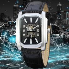2016 Fashion Men Male Winner Brand Mechanical Watch Leather Automatic Stylish Classic Skeleton Steampunk Wristwatch BEST Gift