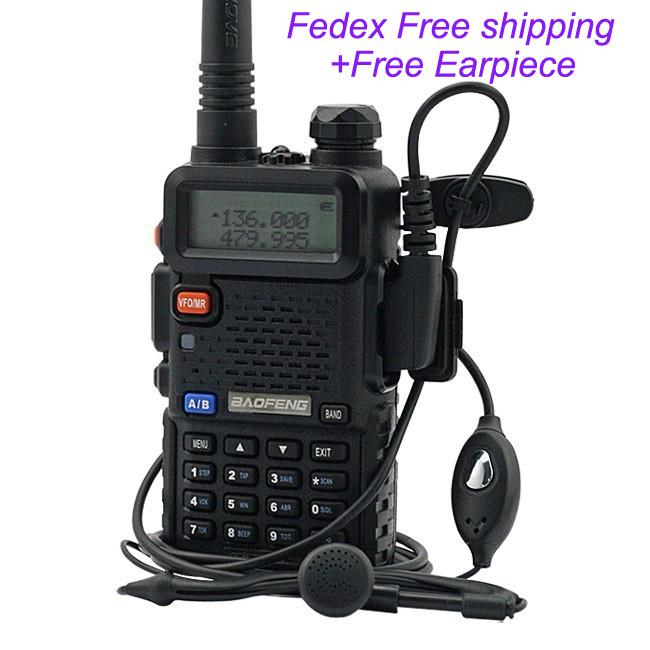 Free Shipping by Fedex Baofeng UV-5R( vhf 136-174 uhf 400-520mhz) hand held dual band fm transceiver UV-5R DTMF CTCSS DCS FM(China (Mainland))