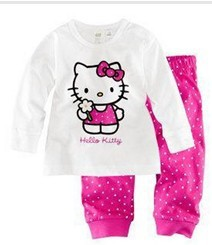 clear stock usd5.99 baby girl clothes kids brand hello kitty pijama children clothing set free shipping(China (Mainland))