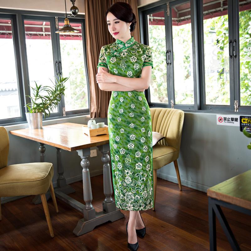 Nuevas mujeres de Largo Venta Caliente Cheongsam Tradicional China Cordón de la Señora Qipao Elegante Delgado Vestido de Flores Tamaño Sml XL XXLF062202(China (Mainland))