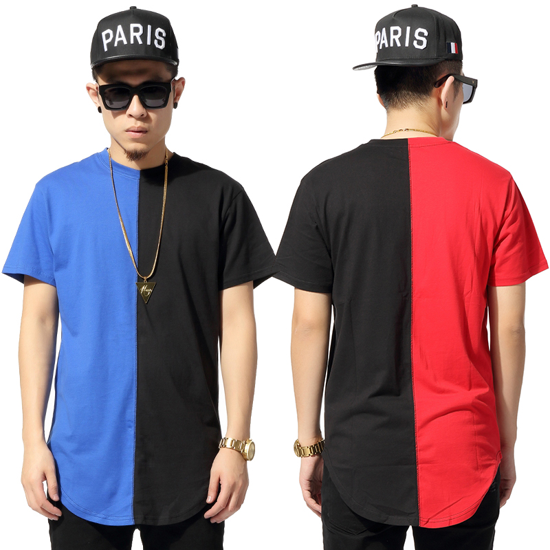 2015 summer style hiphop symmetrical color block decoration circular arc sweep ultra long T-shirt lovers short-sleeve t shirt - M&M O Batman store
