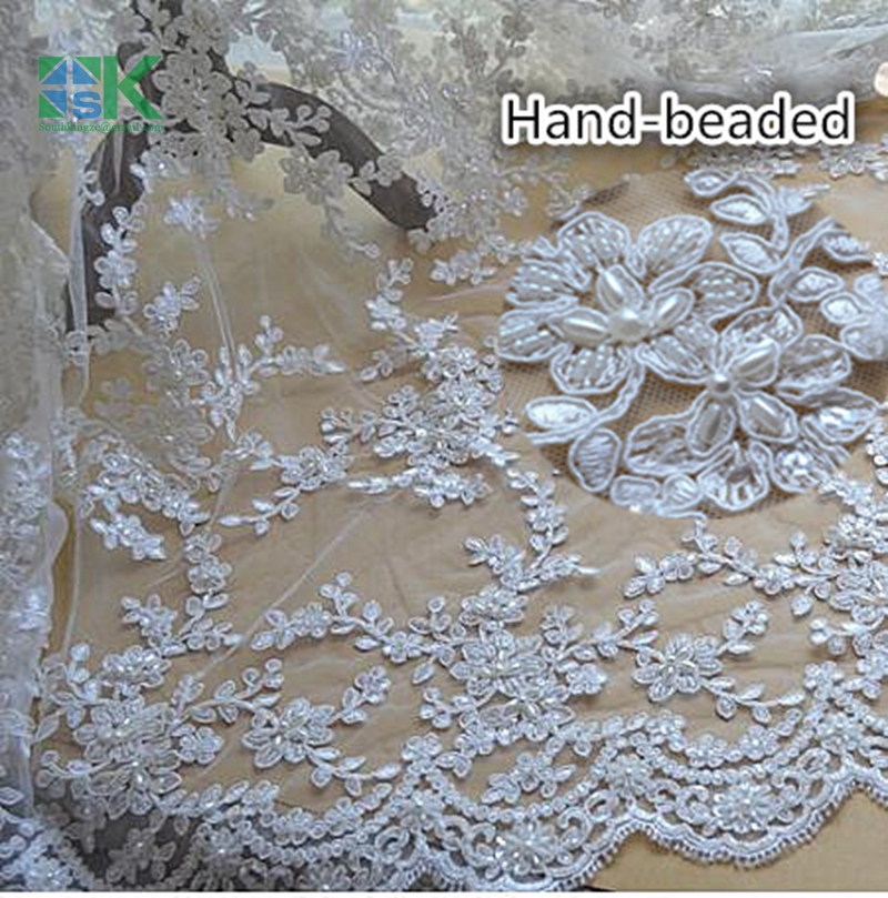 New custom 2016 SK beautiful lace fabric hand made white embroidered lace trim dedicated high-end wedding dress fabric SK4071(China (Mainland))