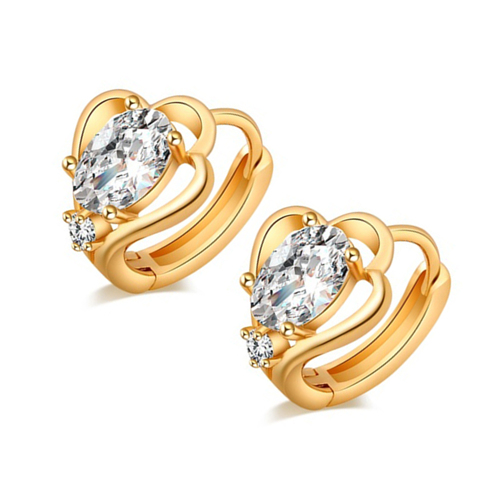Fs Hot Girls Elegant Classic Designer Gold Plated Hoop Earring White Color  Cz Stone Earring(
