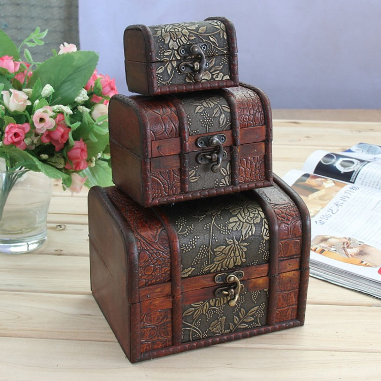 2015 new arrival wooden antique cosmetic bags makeup for Storage treasures