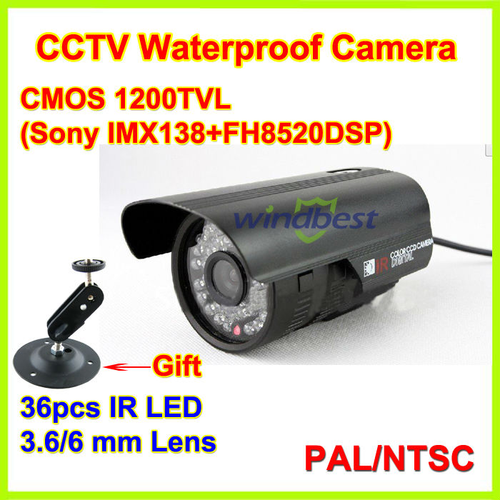 Freeshipping 1/3 SONY CMOS 960H 1200TVL 3.6mm Mega Lens Color Outdoor Waterproof CCTV Camera 36 IR LED Night vision With Bracket(China (Mainland))