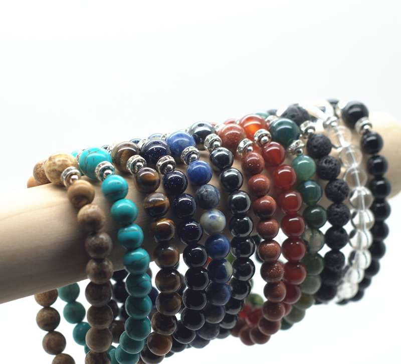 Assorted Natural 8MM Round beads stone bracelet with 10MM semi precious stone beads and 6MM Rhinestone Pieces<br><br>Aliexpress