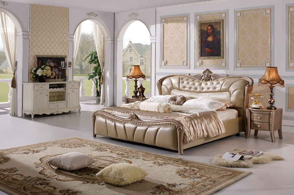 The modern designer leather soft bed   large double bedroom furniture   American style. Compare Prices on Double Bedroom  Online Shopping Buy Low Price