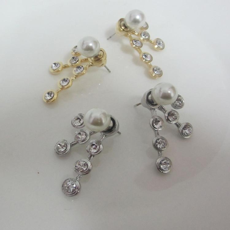 Brilliant Pearl Women Earrings Black Flower Stud Earrings E2253in Stud Earrings