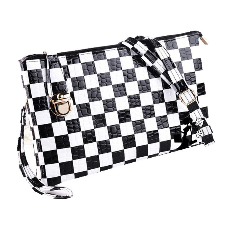 3 Style Zipper Black And White Plaid Designer Women Messenger Bags 2016 Shoulder Small Cross body Bag Leather Handbags JW2029(China (Mainland))