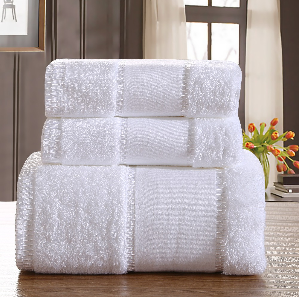 Luxury Five-star Hotel 100% Cotton Brand Bath Towel Sets White Beach Towels for Adults Super Soft Absorbent Bathroom Towels(China (Mainland))
