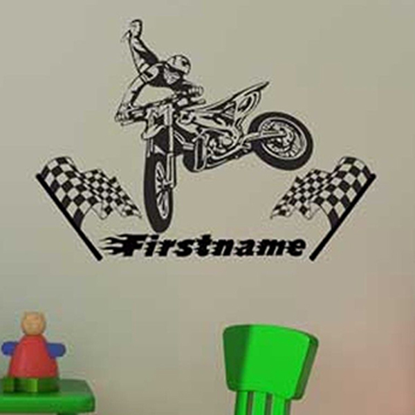 Personalised Motocross Vinyl Wall Sticker Set Ideal Boy s Bedroom Plus Name  Wall Decals Kids Room Decoration. Online Buy Wholesale motocross room decoration from China
