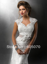 New Arrival Free Shipping Cap Sleeve Sheath Popular Tulle Lace Belt Sweetheart Sexy Backless Wedding Dresses 2015 White Red(China (Mainland))