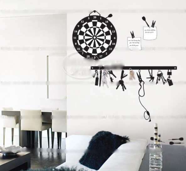 Free shipping wall stickers dart tv decoration stickers Black Keys dart disk home decor removable wall sticker(China (Mainland))