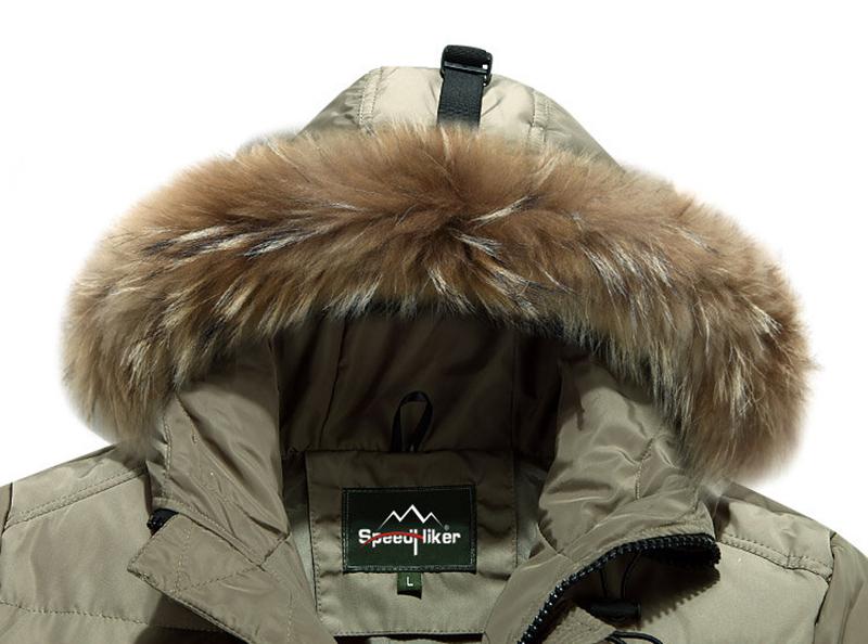 Hız Hiker Aşağı Ceket Erkekler 2016 Kış Su Geçirmez Kalınlaşmak Kapşonlu En kalite Büyük cep Gerçek Rakun Kürk 3XL K8047