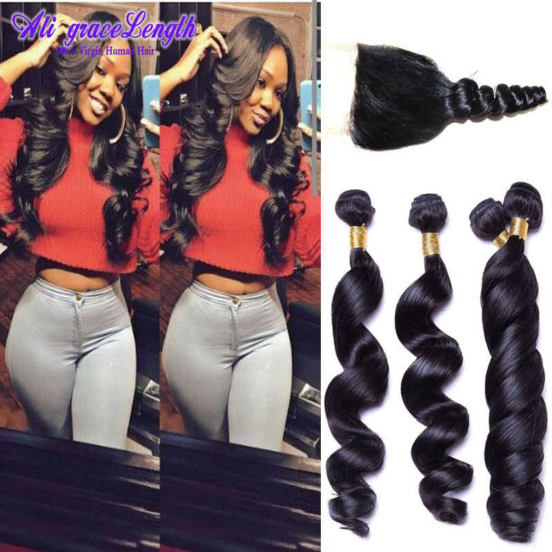 Unprocessed Brazilian loose wave with closure 4 Bundles with closure loose wave Brazilian virgin hair with closure  human hair