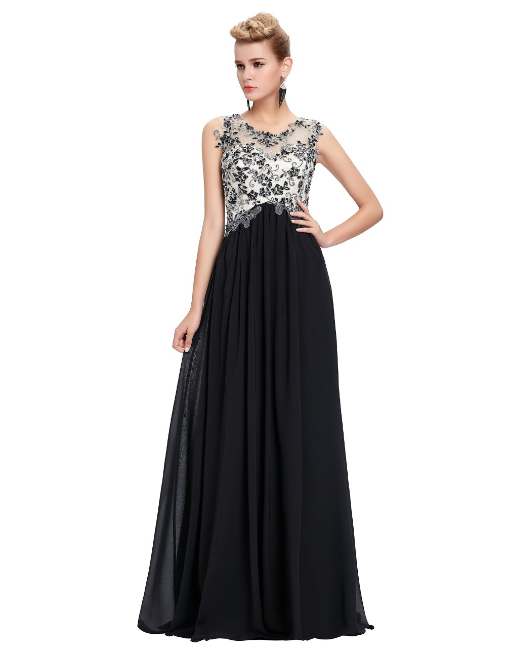 Floor Length Elegant Formal Evening Dresses For Women 2016 White Black