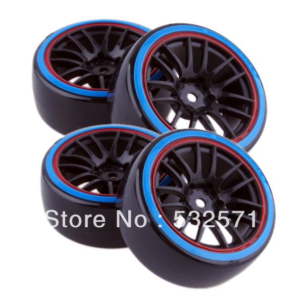 4pcs Hard Tyre & Red Edge Black Wheel Rim Fit HSP HPI Tamiya Kyosho 1:10 RC Car Drift Tire 9068-5002(China (Mainland))