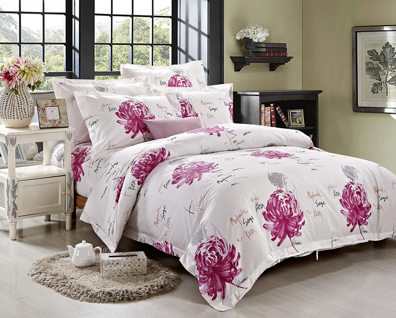 5 five stars hotel bedding set 4pc printed duvet cover sets white simple style full queen king size free shipping pink peony(China (Mainland))