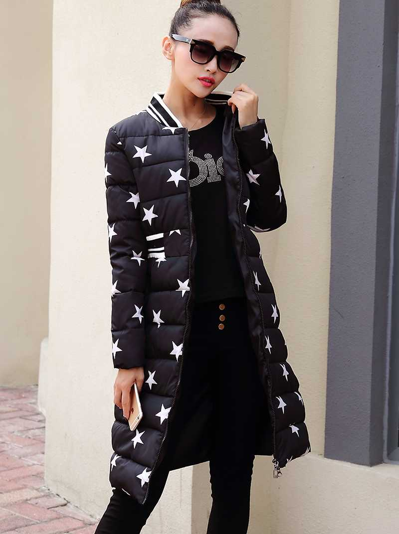 Female Winter Woman Coats And Jackets 2015 Cotton New Design Five Stars Printed Extra Long Down Thickened Coat H5510Одежда и ак�е��уары<br><br><br>Aliexpress