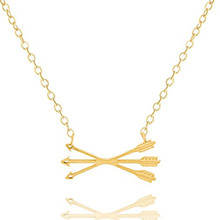 GORGEOUS TALE Boho Piercing Crossed X Arrow Necklace Women Men Jewelry Stainless Steel Choker Body Chain Silver Gold Colar(China (Mainland))