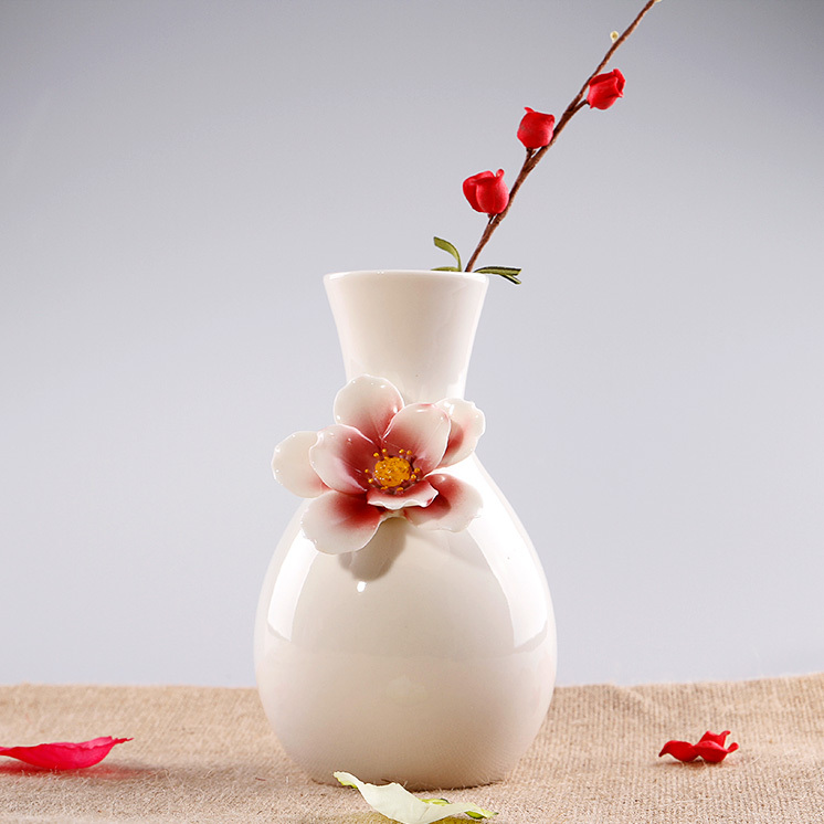 Ceramic white glazed pots flowers vase designs home decor - Vases decoration interieure ...