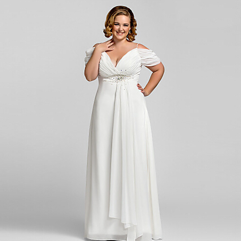 Plus size evening gowns white