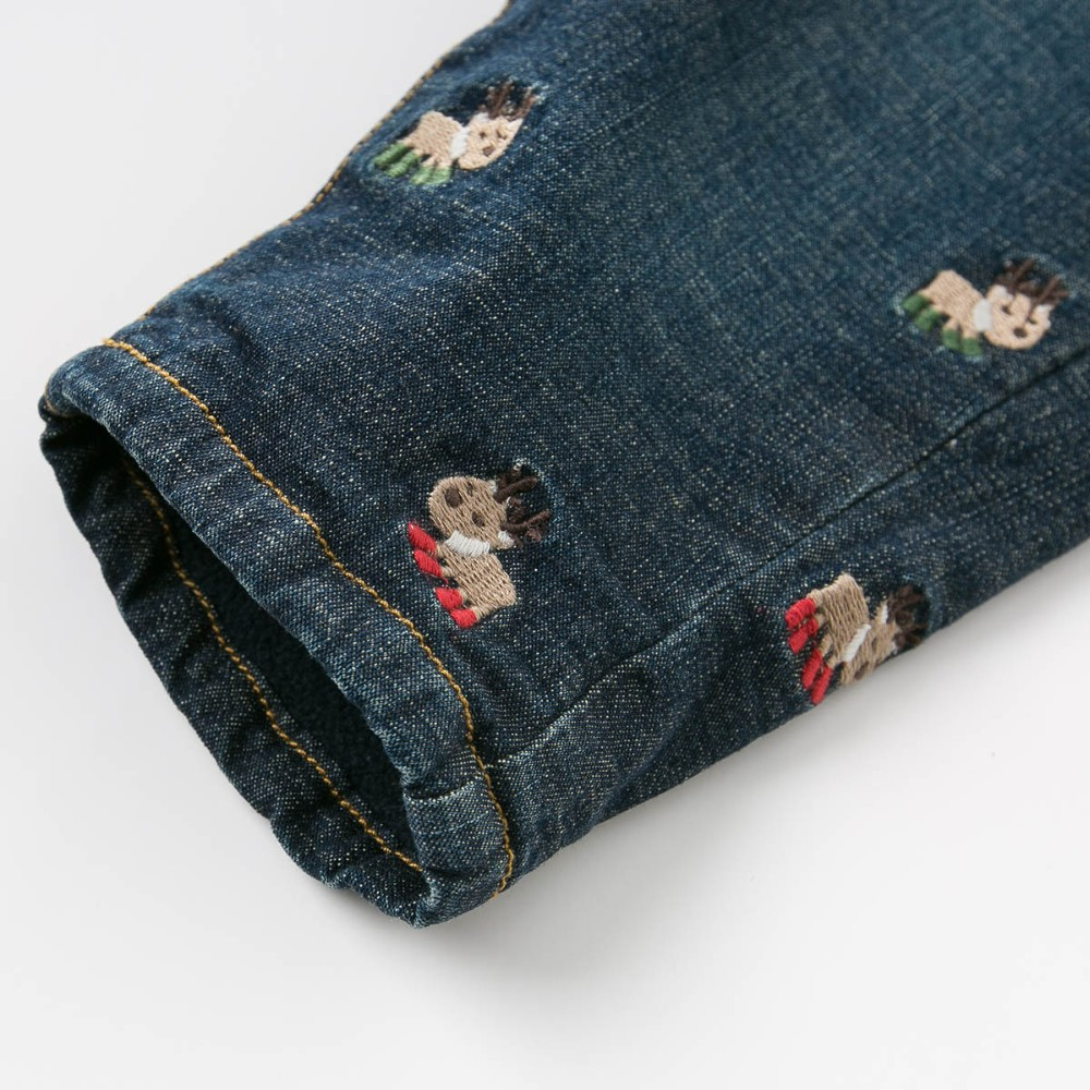 DB4681 dave bella  baby boys girls  jeans cute elk embroidery Christmas  pants