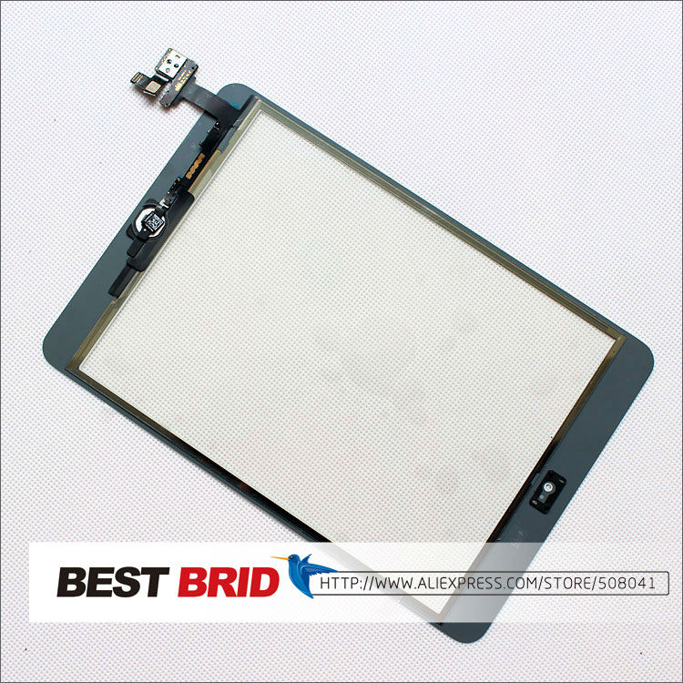 Free shipping  Black  Touch Screen Digitizer with Home Button and IC Connector Assembly for iPad mini(China (Mainland))